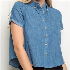 Brandy Melville blue cropped top button up OS